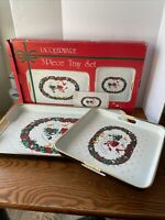 Vtg Set of 2 Lacquerware Christmas Nesting Trays Goose Duck  Japan