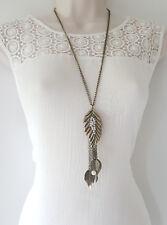 "Gorgeous 26"" long antique gold tone leaf charm chain necklace & earring set"