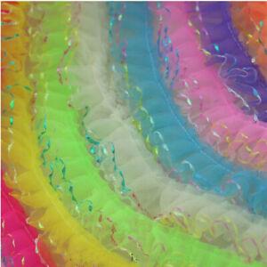 1- 5 Yards 2-Layer Pleated Edge Gathered Ribbon Frilled Lace Trim Wedding DIY