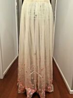 CREAM NET SKIRT, EMBROIDERY SEQUINS ,WEDDING, STEVIE NICKS, FESTIVAL  BOHO SKIRT