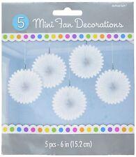 5pk White Paper Mini Paper Fans 15cm Birthday Wedding Event Decorations