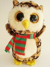 "Ty Beanie Boo Boos Wise Light and Dark Brown Barn Owl 6"" Sparkle Eyes 2015 NHT"