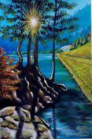 """ARIANNA CAPPONI ACRILICO SU CARTA """" SPERANZA  29 X42 paesaggio natura fiume sole"""