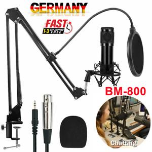 Kondensator Mikrofon Microphone Set mit ArmStänder&Halter für Studio Aufnahme DE