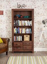 Mayan Solid Walnut Dark Wood Large 4 Drawer Bookcase