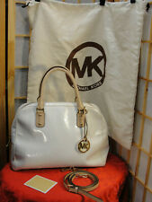 MICHAEL KORS Grayson Cream Patent Leather Convertable bag & Dust Cover DEFECTS
