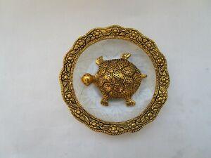 brass kuber kachua tortoise in plate for success feng shui home good luck charm
