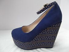 Torrid blue shoes faux suede gold studded 5in high heel platform wedge sz 8 MINT