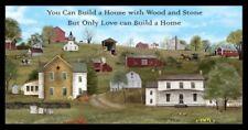 "23"" Fabric Panel - Elizabeth's Studio Headin' Home Amish Church Farm House Black"