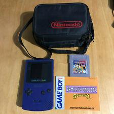 Nintendo Gameboy Color Console Purple + Game + Carry Case