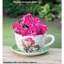 Vintage Beautiful Ceramic Teacup & Saucer Planter - Traditional Rose