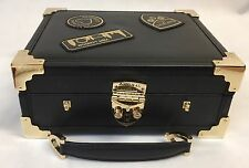 Aspinal of London Leather London Mini Trunk Clutch Bag in Smooth Black Design.