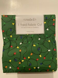 Create It Holiday Christmas Lights Multi Color  Lights Green Cotton Fabric BTY