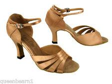 1601 Brown Satin Latin Salsa Dance Shoes heel 2.5 Size 8.5 very Fine
