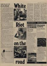 Clash Subway Sect Buzzcocks Slits White Riot on the road Interview/article 1977