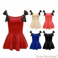 Ladies Womens Bow Knot Front Shift Frill Skater Peplum Bodycon Vest Top 8-14