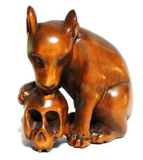 """Y6400 - 2"""" Hand Carved Boxwood Netsuke - Wolf and Skull Gothic"""