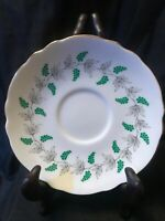 Vintage Crown Staffordshire Fine Bone China Saucer Green Grapes Garland Gold Rim