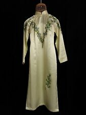 NHA May Oriental Dress Cream Pale Green Hue Mand Collar Floral Open Side PP to S