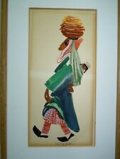 Pola Weizman Listed Artist, Oil Painting Yemenite Woman with Child, 30 x 15 cm