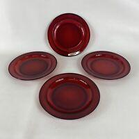 "Vintage Arcoroc France Ruby Red Glass Salad Dessert Plates 7 1/2"" Set Of 4"