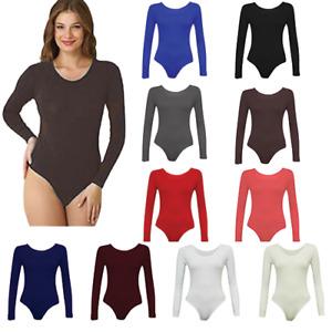 Womens Ladies Long Sleeve Stretch Bodysuit Ladies Leotard Body Top Tshirt 8-26