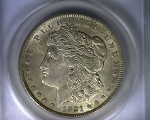 MS62 ANACS 1921 TOP 100 VAM 13 INFREQUENTLY REEDED MORGAN SILVER DOLLAR COIN