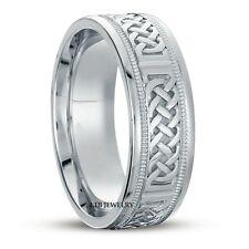 10K WHITE GOLD MENS CELTIC WEDDING BANDS,HANDMADE SHINY 7MM CELTIC WEDDING RING