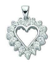 ciondolo a cuore argento sterling rodio finitura zircone cubico ciondolo a cuore