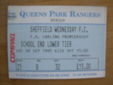 Queens Park Rangers QPR V Sheffield Wednesday 1995-96 Matrice del BIGLIETTO Premier League