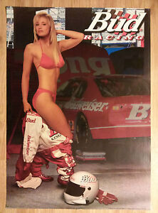 Sexy Girl Beer Poster Bud Budweiser ~ From Auto Racing Jumpsuit to a Red Bikini