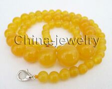 """P7767 - 18"""" 6-14-6mm natural perfect round yellow jade necklace - GP clasp"""
