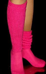 Fushia Slouch Knee Socks Scrunchie Cozy Warm Long Nurse Hooters Uniform HEAVY nw