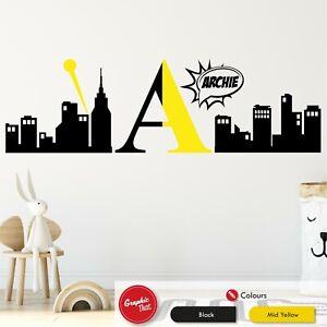 Superhero Skyline Monogram Personalised Wall Sticker Boys City  Bedroom Decal