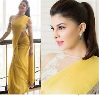 New Saree Sari Indian Yellow Designer Wear Work Blouse Party Wedding Pakistani