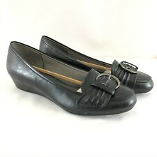 Lifestride Womens Flavia Loafers Slip On Wedge Buckle Faux Leather Black 8W Wide