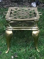 Antique Victorian Heavy Lacquered Brass Footman Trivet with Pierced Top & Sides