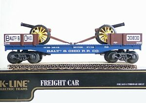 K-LINE, O/ 0-27scale #K-661-1091 Baltimore & Ohio CLASSIC flat w/2 cannons