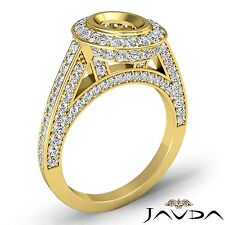 Halo Pave Diamond Engagement Bezel Ring 14k Yellow Gold Oval Semi Mount 1.25Ct