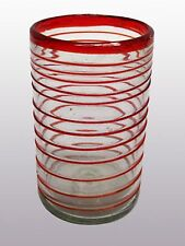 Mexican Glassware - Ruby Red Spiral drinking glasses (set of 6)