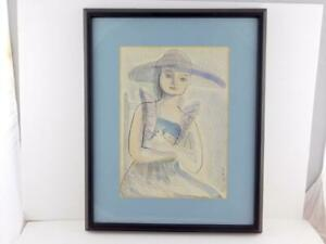 Eggleton 1949 Original Ink Drawing Painting Girl and Bird Framed VERY GOOD COND