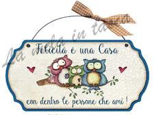 Targa targhetta decorativa country legno per porta con frasi CASA felicità