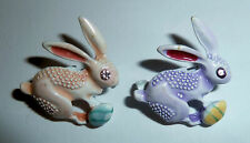 Two Metal Pins 1970s Brightly Colored Rabbits Bunnies Easter Pinbacks w. Eggs