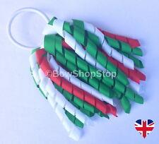 Red White Green Hair Bow Korker Streamer Ribbon Elastic Bobble