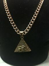 Hip Hop Gold Ancient Egyptian Pyramid Horus Eye Pendant on a Gold Chain Necklace