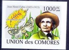 Comores MNH Imperf, Butterflies Henri Fabre French Entomologist  -N42