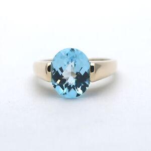 Strahlender Blau Topas Ring 585 Gold 14 Karat Gelbgold Wert 580,-