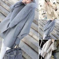 Mujer thick PIEL DE CONEJO largo chaqueta abrigo Outdoor Capucha Parka Outwear