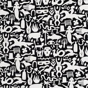 Folktale Black & White Primitive Alexander Henry Cotton Quilt Fabric 8804B