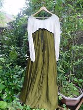 VINTAGE MOSS GREEN/CREAM LACE MAXI EMPIRE LINE EVENING PARTY DRESS-SIZE 18/20/22